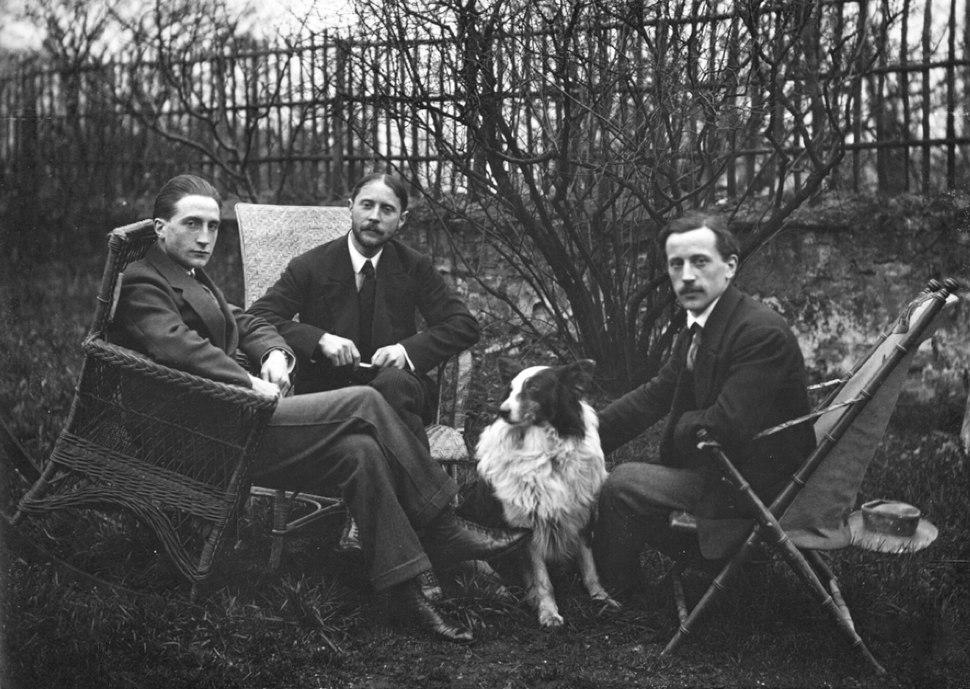 Marcel Duchamp, Jacques Villon, Raymond Duchamp-Villon in the garden of Villon's studio, Puteaux, France, c.1913