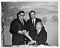 Mayor John F. Collins congratulates Charlestown Patriot newspaper on its anniversary. Jim Conroy, Editor; Bob McDermott, Founder; Mayor John F. Collins (12775103034).jpg