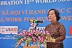 Mdm Phạm Thị Hải Chuyền, Minister of Labour, War Invalids and Social Affairs speaks at the Social Work Day event in Hanoi (8168721418).jpg
