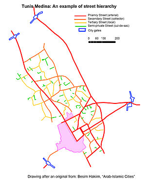hierarchical street network in the medina of tunis includes culs de sac green local streets yellow collectors orange and arterials red linking