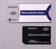 Memory Stick Duo Adaptor and Memory Stick PRO Duo.