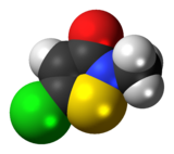 Space-filling model of the methylchloroisothiazolinone molecule