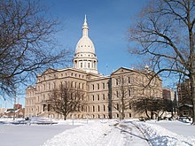 The Michigan State Capitol building in winter