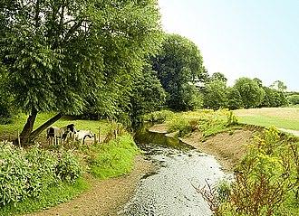 Cheadle Hulme - The Micker Brook, running through fields behind the Ramillies estate