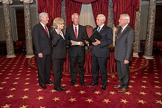 Cindy Hyde-Smith - Vice President Mike Pence swears in Smith at the Old Senate Chamber in 2018