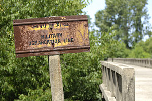 Military Demarcation Line - Bridge MDL sign.