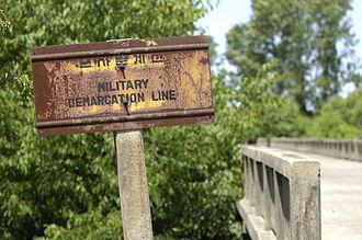Military Demarcation Line - Bridge MDL sign.