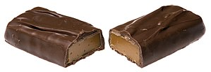 English: A Milky Way Simply Caramel split in half.