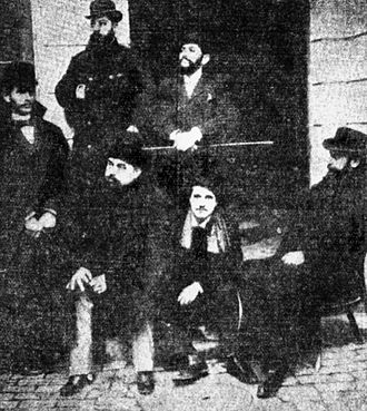Adevărul - Adevărul editors in 1897. Constantin Mille is first seated from left. Standing behind him are Ioan Bacalbaşa (middle) and Constantin Bacalbaşa (right)