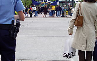 Minneapolis Police Department - From 2005 to 2006, officers monitored protest rallies against the War in Iraq, here in downtown Minneapolis.