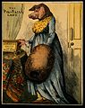 Miss Atkinson, a woman with a pig's head. Coloured wood engr Wellcome V0006968.jpg