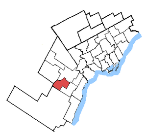 Mississauga—Streetsville - Mississauga—Streetsville in relation to other Greater Toronto ridings