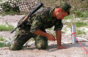 Moldovan Ground Forces - Moldovan soldier training for mine prodding