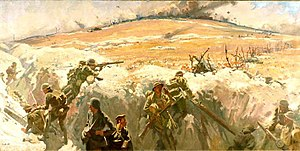 Battle of Mont Saint-Quentin - Capture of Mont Saint Quentin painting by Fred Leist (1920)