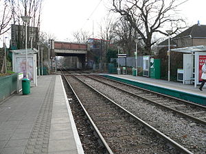 Tramlink route 1 - Looking east at Morden Road tram stop