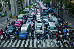 Lane splitting - Lane splitting in Bangkok, Thailand