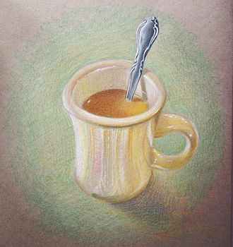 Colored pencil - Colored pencil drawing displaying layering (mug) and burnishing (spoon) techniques