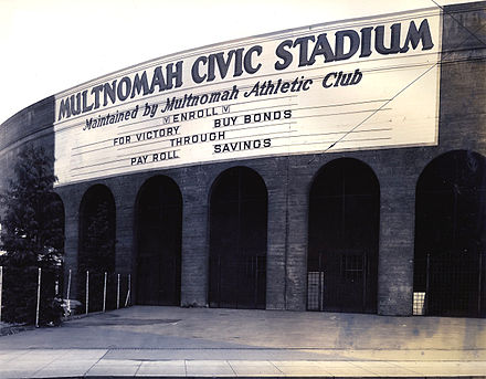 Providence Park (then known as Multnomah Civic Stadium) photographed in 1941 Multnomah Stadium, 1940s.jpg