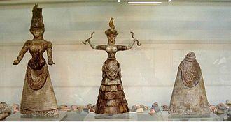 Minoan snake goddess figurines - Minoan Snake Goddess figurines, c 1600 BCE, Archaeological Museum, Heraklion, Crete