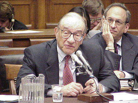 Fed Chairman Alan Greenspan, who obtained his Ph.D. in economics from New York University, testifies before the U.S. House Committee on Financial Services
