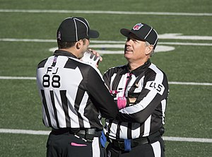 Official (American football) - Side judge Brad Freeman (88) and line judge Jeff Seeman (45) at an NFL game in October 2014.