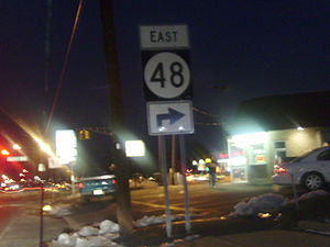 New Jersey Route 48 - Shield for eastbound Route 48 on US 130 in Penns Grove.