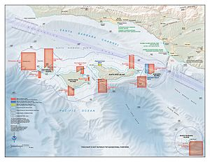 Coral reef protection - This map shows all the marine reserve areas around the Santa Barbara Channel islands, where fishing is not permitted. Also labeled are marine conservation areas and visitor centers on the mainland.