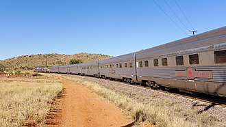 Sleeping cars on The Ghan near Alice Springs in 2015. NR45 + NR10 + Ghan Alice Springs, 2015 (03).JPG