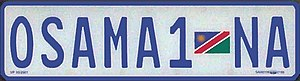 Vehicle registration plates of Namibia - Personalised plate