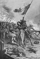 Painting shows a man holding a French flag and leading his troops across a wooden-floored bridge. An officer attempts to grab the man with the flag.
