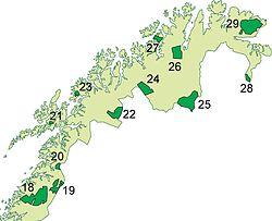 Kort over nationalparker i Nord-Norge.  Denne er nr  28