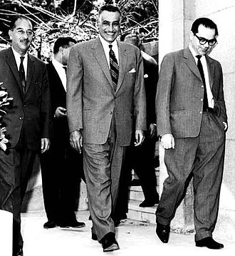 1963 Syrian coup d'état - Tripartite unity talks between Iraqi Prime Minister Ahmed Hassan al-Bakr (left),  Egyptian President Gamal Abdel Nasser (center) and Syrian President Lu'ay al-Atassi (right), 16 April 1963. Relations between Nasser and the Syrian Ba'athists deteriorated weeks later after the purge of Nasserists from the officer corps and Alwan's failed coup. Atassi resigned following the events.