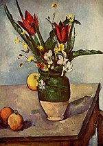 Nature morte, tulipes et pommes, par Paul Cézanne.jpg