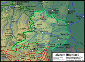 Map of the Alzeyer hill country (227.4–227.50) together with the basin landscapes, which are locked to the northeast by the hill country, Kaiserstraßensenke (193.44, here with 193.43 and the south of 227.41) and Eisenberg basin (227.6) and the eastern roofing of the Wonnegauer hill country (227.51).
