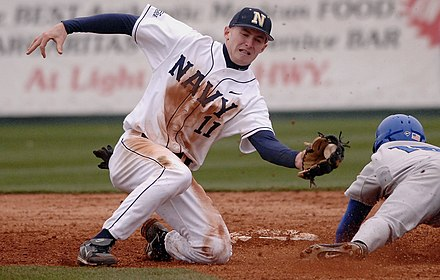 A shortstop tries to tag out a runner who is sliding headfirst, attempting to reach second base. Navy baseball.jpg