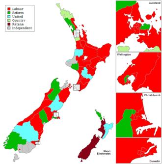25th New Zealand Parliament - Image: New Zealand Electorates 1935