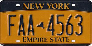 New York State Department of Motor Vehicles - Current New York license plate.