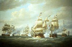 Nicholas Pocock - Duckworth's Action off San Domingo, 6 February 1806.jpg