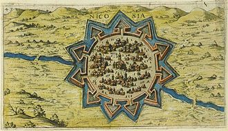 Nicosia - Map of Nicosia in Cyprus, created in 1597