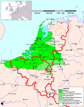 Contemporary continental Low Franconian language area. French Flanders however has become more and more francophone during the last century. Brussels Capital Region is officially bilingual, but largely francophone. In Germany, Low Franconian only exists as Meuse-Rhenish regiolects and dialects