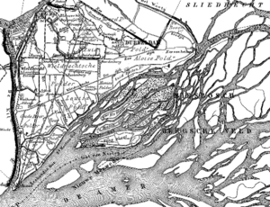 The projected trajectory of the Nieuwe Merwede canal, circa 1868 (dotted lines).