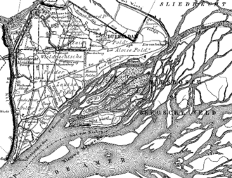 Nieuwe Merwede - The projected trajectory of the Nieuwe Merwede canal, circa 1868 (dotted lines).