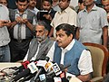 Nitin Gadkari addressing a press conference, on a two day review meeting held by him on implementation of Road projects in the country, in New Delhi. The Minister of State for Road Transport & Highways and Shipping.jpg