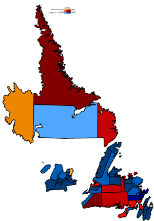 Danny Williams (politician) - Map showing the partisan support and margins within electoral districts
