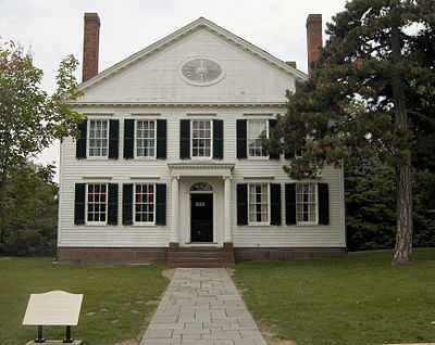 Webster's New Haven home, where he wrote An American Dictionary of the English Language. Now relocated to Greenfield Village in Dearborn, Michigan.