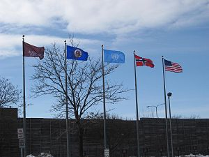 Augsburg University - Flags fly at Augsburg College, during the 25th annual Nobel Peace Prize Forum (2013).