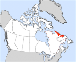 Nunatsiavut's location in Newfoundland and Labrador, Canada