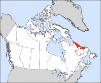 Nunatsiavut - Nunatsiavut's location in Newfoundland and Labrador, Canada