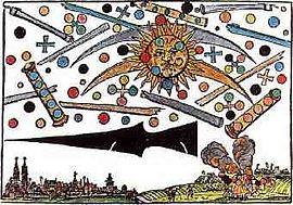 Hans Glaserin painokuva selittämättömistä ilmiöistä taivaalla vuonna 1561, Nurnbergissä