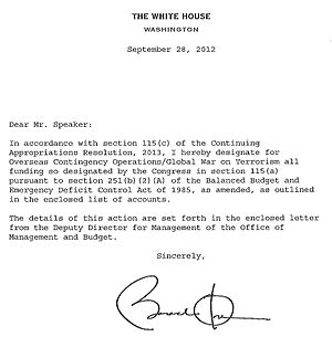 "War on Terror - Letter from Barack Obama indicating appropriation of Congressional funds for ""Overseas Contingency Operations/Global War on Terrorism"""